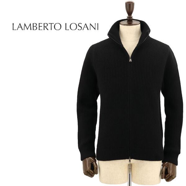 国内正規品 即日発送 LAMBERTO LOSANI ランベルト ロザーニ メンズ カシミヤ ジップアップ カーディガン H288095/901 (ブラック)