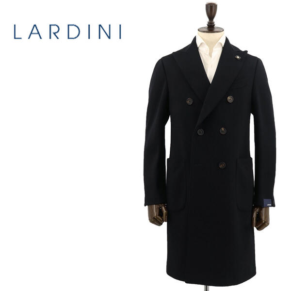 国内正規品 即日発送 LARDINI ラルディーニ メンズ ウール 6B ダブルブレスト チェスターコート JQ23211AQ/ILRP53693/4(ブラック)