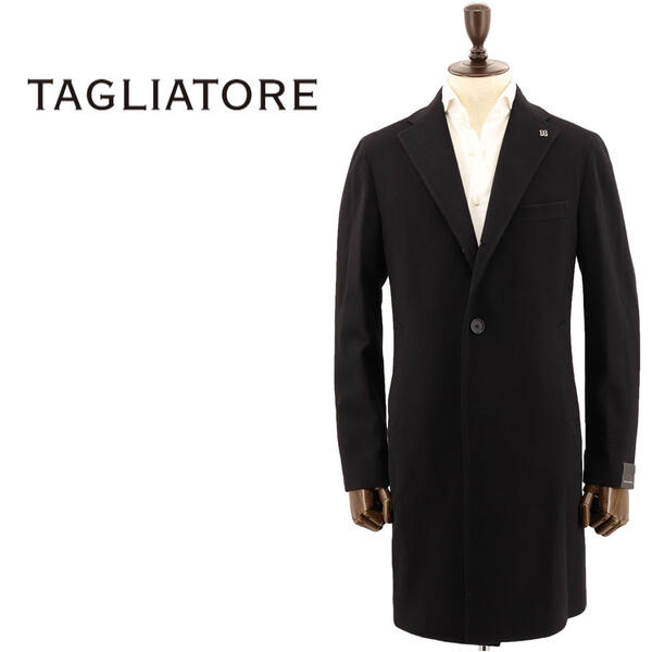 タリアトーレ ヴァージンウール 段返り3B メンズ TAGLIATORE CSBL13X シングルチェスターコート カシミア混 N3462(ブラック) 35UIC074