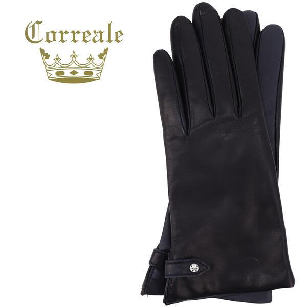 国内正規品 即日発送 Correale gloves コレアーレグローブス レディース シープスキン カシミヤ タッチパネル対応 ラインストーングローブ 手袋 CRL-0078(ネイビー)