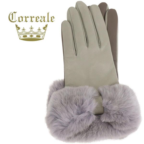 国内正規品 即日発送 Correale gloves コレアーレグローブス レディース シープスキン カシミヤ レッキスリボンファー付き グローブ 手袋 CRL-0049(ライトグレー)