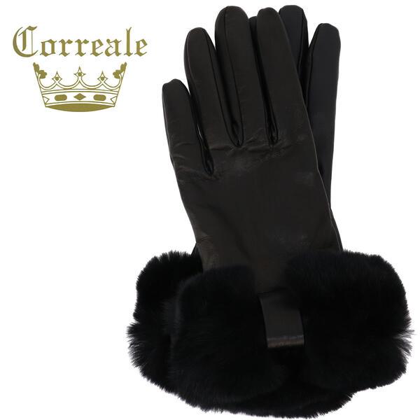 国内正規品 即日発送 コレアーレグローブス Correale gloves レディース シープスキン 手袋 レッキスリボンファー付き 価格 交渉 送料無料 グローブ CRL-0049 ブラック ギフト プレゼント ご褒美 カシミヤ