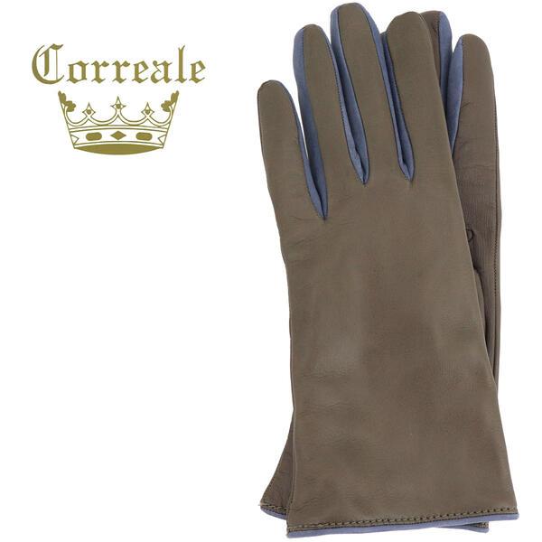 国内正規品 即日発送 Correale gloves コレアーレグローブス レディース シープスキン カシミヤ タッチパネル対応 バイカラー グローブ 手袋 CRL-0095(トープ×ライトブルー)