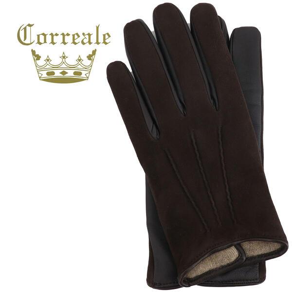 国内正規品 即日発送 Correale gloves コレアーレグローブス メンズ ラムスエード×シープスキン ナッパレザー カシミア タッチパネル対応 グローブ 手袋 CRM-6063(ブラウン)