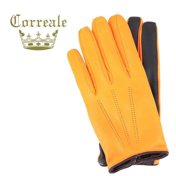 国内正規品 即日発送 Correale gloves コレアーレグローブス メンズ シープスキン ナッパレザー カシミア タッチパネル対応 グローブ 手袋 CRM-6072(イエロー)