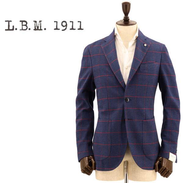 国内正規品 即日発送 L.B.M.1911 エルビーエム1911 メンズ コットン カシミアタッチ ウィンドウペン 2B シングルジャケット JACK 9201A29865076 2(ネイビー)