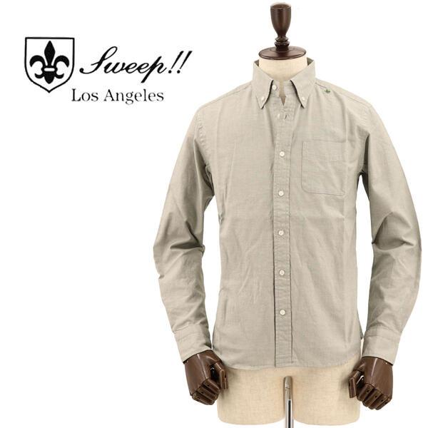 SWEEP!! LosAngeles スウィープ ロサンゼルス メンズ シャンブレー ボタンダウンシャツ CHAMBREY KHAKI(カーキ)
