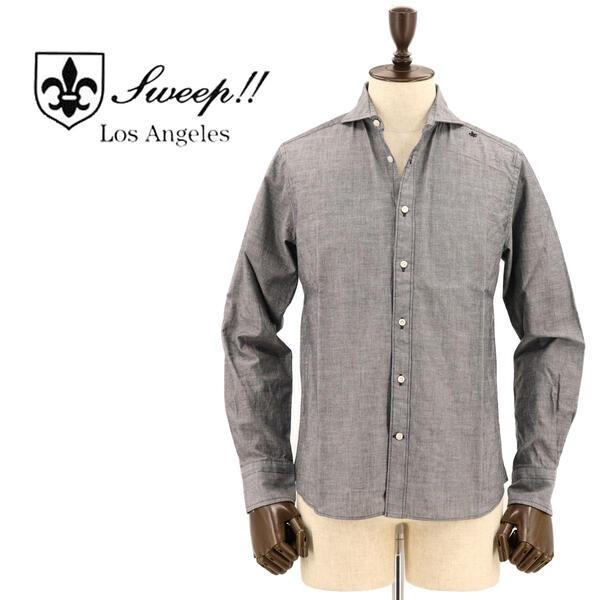 SWEEP!! LosAngeles スウィープ ロサンゼルス メンズ ホリゾンタルカラー シャンブレーシャツ Chambrey-HZ BLACK (ブラック)