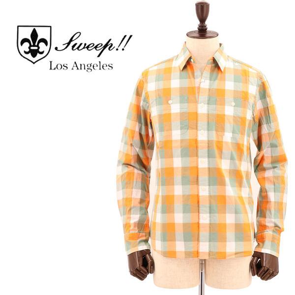 SWEEP!! LosAngeles スウィープ ロサンゼルス メンズ ブロックチェック柄 コットンシャツ BLOCK CHECK-VRG SWVRGBCK-05 GREEN/ORANGE (グリーン×オレンジ)