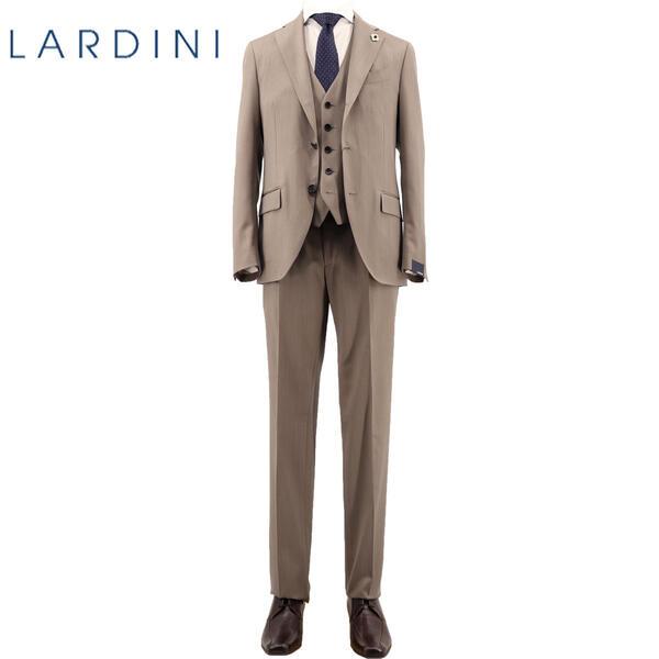 2020年春夏新作 国内正規品 LARDINI ラルディーニ メンズ ウール ソラーロ シャドーストライプ 3ピース 段返り3B シングルスーツ TESSUTO ESCLUSIVO JR0890AQ/EIC54401/1(ベージュ)