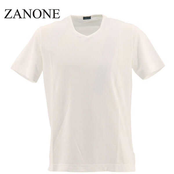 2020年春夏新作 国内正規品 ZANONE ザノーネ メンズ アイスコットン Vネック 半袖Tシャツ T-SHIRT V NECK 810237 Z0380 Z0001(ホワイト)