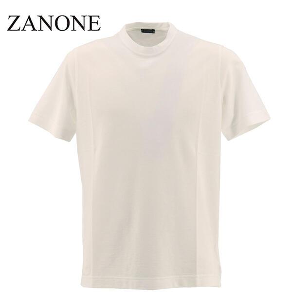 2020年春夏新作 国内正規品 ZANONE ザノーネ メンズ アイスコットン クルーネック 半袖Tシャツ T-SHIRT MC ROUND NECK 811821 Z0380 Z0001(ホワイト)