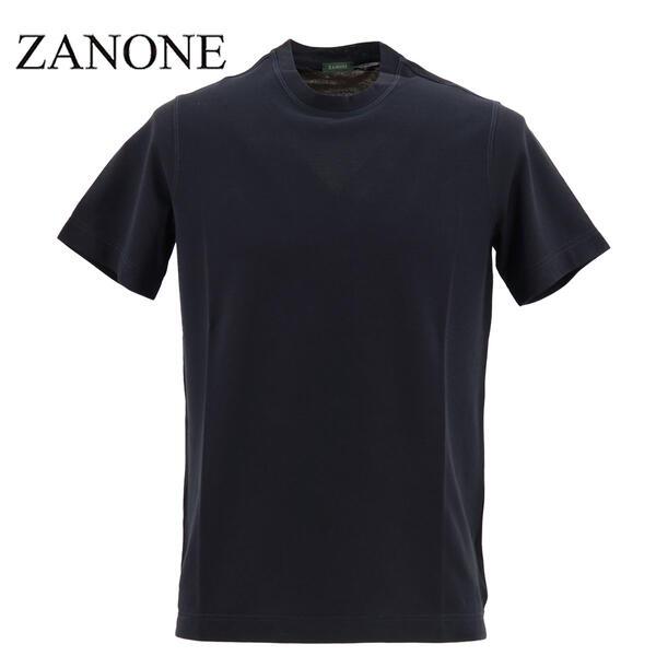 2020年春夏新作 国内正規品 ZANONE ザノーネ メンズ アイスコットン クルーネック 半袖Tシャツ T-SHIRT MC ROUND NECK 811821 Z0380 Z0542(ネイビー)