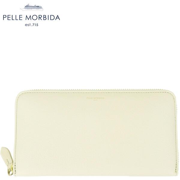 2020年春夏新作 国内正規品 PELLE MORBIDA ペッレモルビダ バルカ 型押しレザー ラウンドジップ長財布 BARCA PMO-BAL003N/IVY (アイボリー)