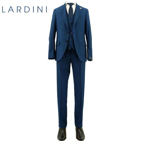 2020年春夏新作 国内正規品 LARDINI ラルディーニ メンズ ウール トロピカルソリッド 3ピース 段返り3B シングルスーツ JR0890AQ/EIRP54488/466(ブルー)