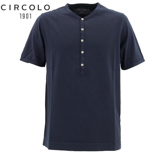 2020年春夏新作 国内正規品 CIRCOLO1901 チルコロ1901 メンズ コットン ヘンリーネック 半袖 Tシャツ 0104-256706 930(ネイビー)