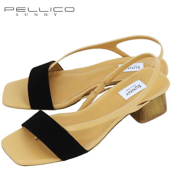 2020年春夏新作 国内正規品 PELLICO SUNNY ペリーコサニー レディース ゴートスエード スクエアトゥ トングストラップ サンダル WISTERIA PF20-0028 ANTE NEGRO(ブラック)