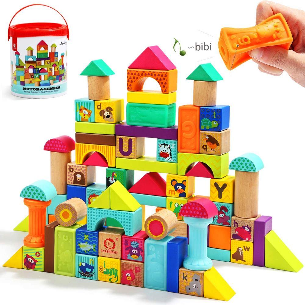 100 %品質保証 TOP BRIGHT木製のビルディングブロックセット(80ピース) 赤ちゃんのためのソフトビルディングブロック付き♪ 女の子と男の子 教育玩具 英語 動物 幼児用玩具 認知 創造性 積み木 おもちゃ 誕生日 クリスマス, トリゴエムラ 3e12a9a0