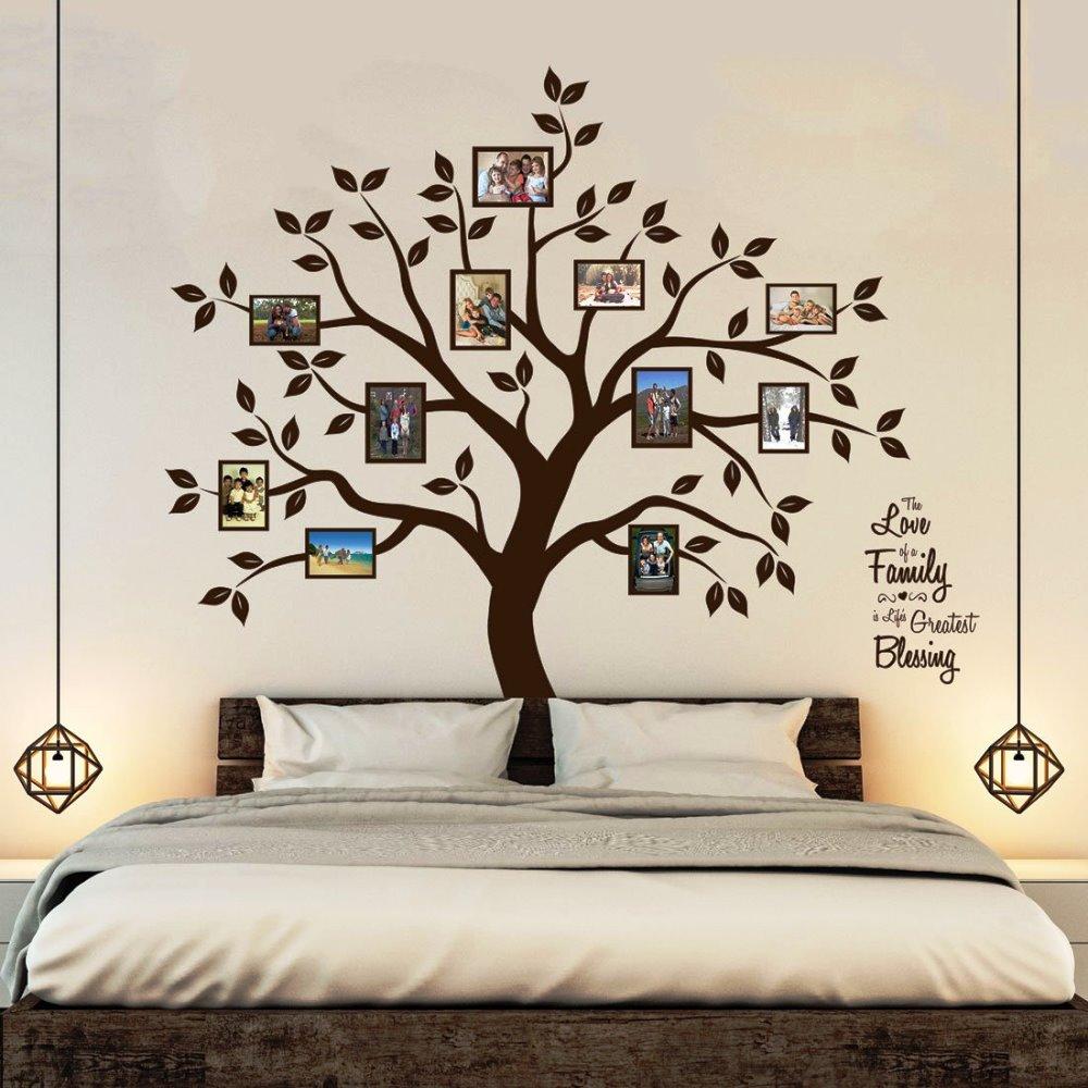 Timber Artboxウォールステッカー(ファミリーツリー) ジンジャーブレッドハウス、歌う鳥と桜-キッズガールズルームビニールリムーバブル自己接着マルチカラー 壁画アートデコレーション フォトフレーム 写真 木 葉