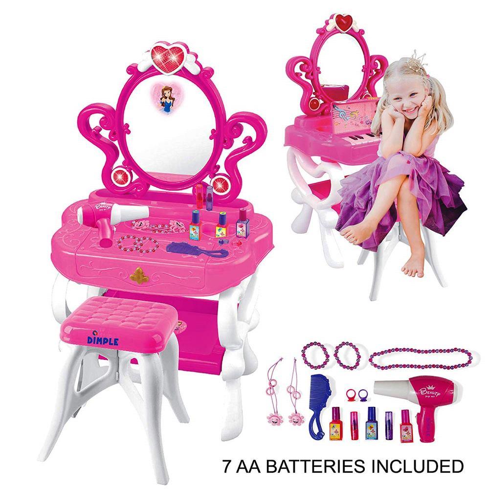 2WAYプリンセスドレッサー&ピアノ·バニティセット ガールズグッズ メイクアップアクセサリー2-in-1(ピアノと点滅ライト、大きな鏡、化粧品、ヘアドライヤー)ごっこ遊び 誕生日 クリスマス