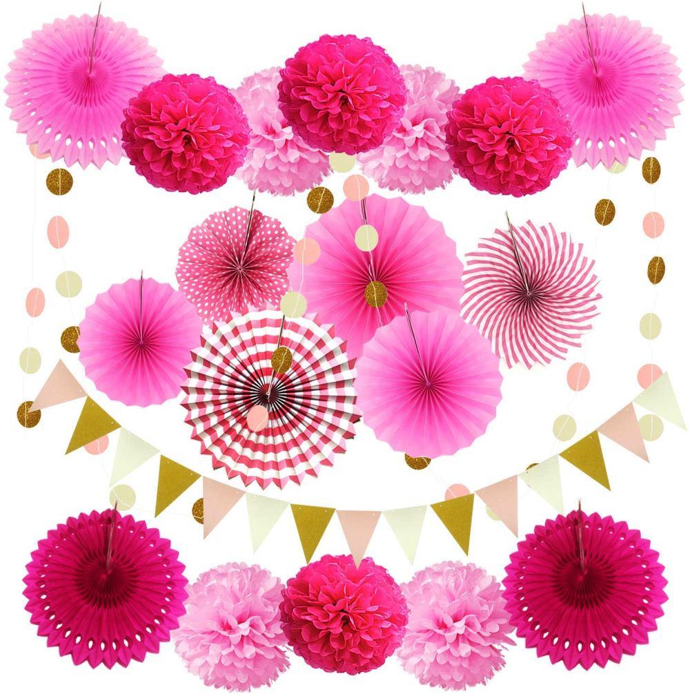 ZERODECOパーティーデコレーション21ピース(ピンク)ハンギングペーパーファン ポンポンフラワーズ 花輪ストリングポルカドット 誕生日、結婚式の装飾 メキシコパーティー用の三角形の旗布旗 インテリア 誕生日 結婚式 ブライダル 飾り クリスマス ハロウィン