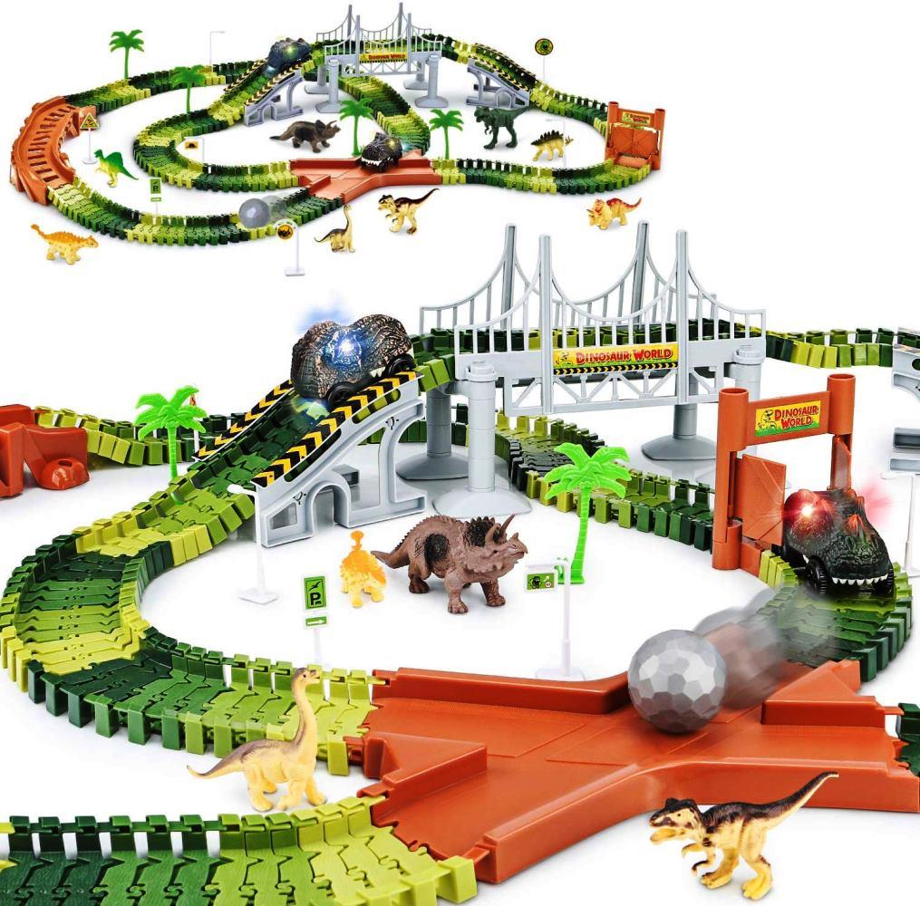 優先配送 KONES恐竜ワールド ロードレースプレイセット&2個の恐竜カー(273パック) ティラノサウルス おもちゃ トリケラトプス クリスマス レーシング ステゴザウルス ティタノサウルス ダイナソー想像力と創造的思考を促進する教育玩具車 レーシング ブロック 誕生日 クリスマス おもちゃ, sellishop:319da5e4 --- blacktieclassic.com.au