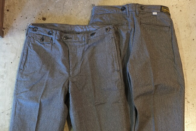 【smtb-tk】ORGUEIL(オルゲイユ)【OR-1030L Workers Trousers】ワーカーズトラウザーズ撚り杢ブラックストライプ生地水牛サスペンダー釦付・各部パイピング仕立てMADE IN JAPAN