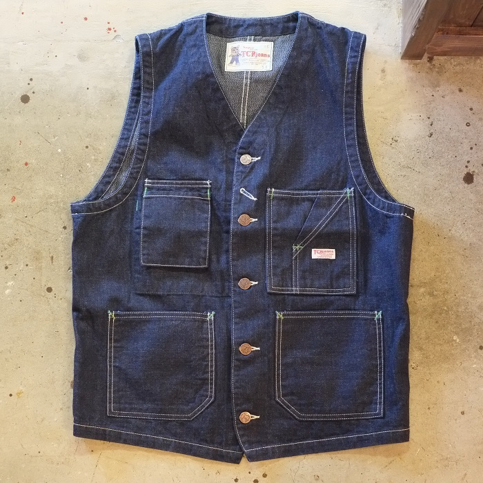 送料無料!TCB jeans(ティーシービージーンズ)TCB TABBYS VEST Selvedge Covert DENIM10oz 杢デニムコットン100% デニムベスト ワークベスト