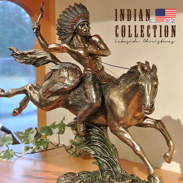 インディアン像 置物 Indian 先住民族 馬 置き物 アメリカ直輸入 コールドキャストブロンズ プレゼント ギフト インテリア 雑貨 75790