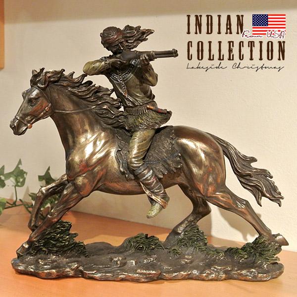 インディアン像 置物 Indian 先住民族 馬 置き物 アメリカ直輸入 コールドキャストブロンズ プレゼント ギフト インテリア 雑貨 74241