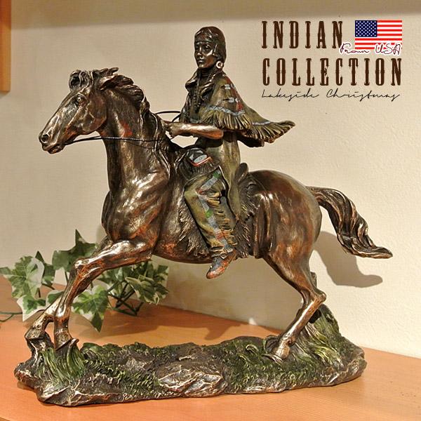 インディアン像 置物 Indian 先住民族 馬 置き物 アメリカ直輸入 コールドキャストブロンズ プレゼント ギフト インテリア 雑貨 76626