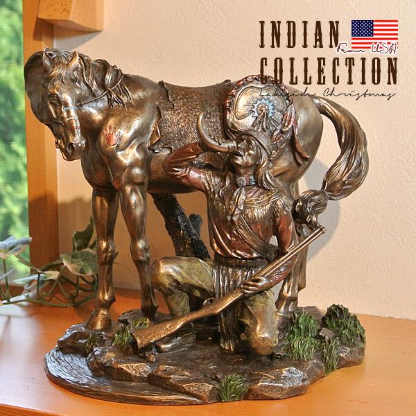 インディアン像 置物 Indian 先住民族 馬 置き物 アメリカ直輸入 コールドキャストブロンズ プレゼント ギフト インテリア 雑貨 74240
