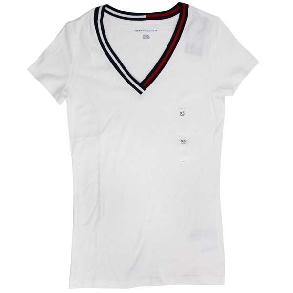 abb34ff0 ... Tommy Hilfiger Tommy Hilfiger Womens V Neck T shirt tops Navy / white  ...
