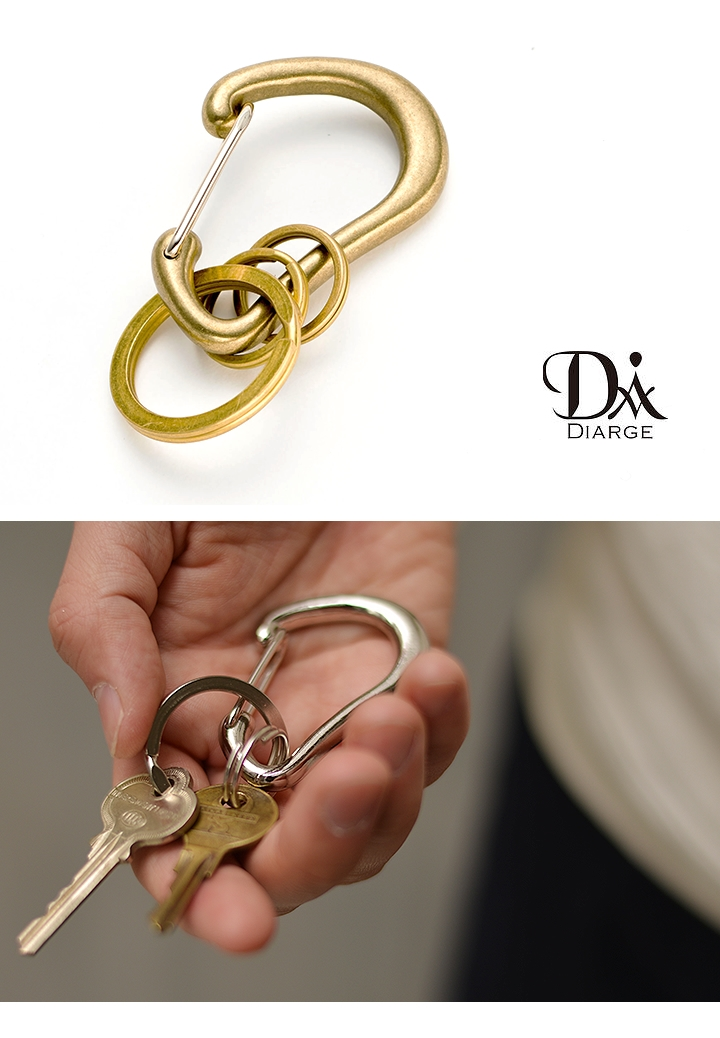 DIARGE (Diaz) BRASS KARABINER KEYRING carabiner Keyring key ring brass Japan-simple pursuits likely de無katta. Hook key storage ladies mens gifts gifts gifts