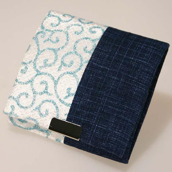 コインケースBOX型ブルー財布 コイン お金 小銭 和風 唐草 シンプル アクセサリー 小物入れ