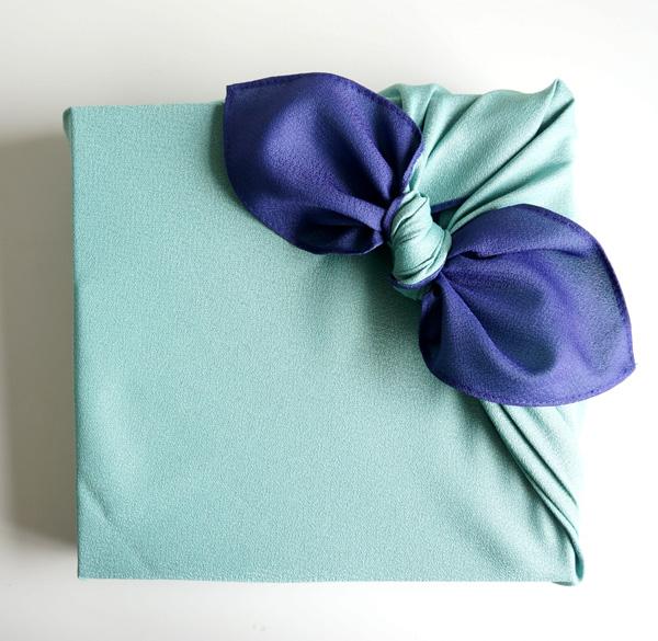 ネコポス対応 風呂敷 紺 水色 無地 高品質 ふろしき リバーシブル 高品質