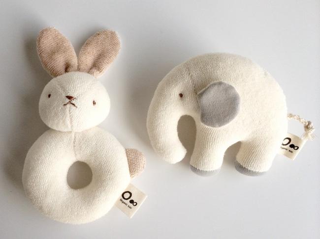 Lala Nature Organic Cotton Rattle Rabbit And Elephant Toys