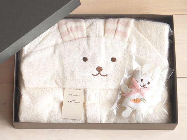 往復送料無料 大切な大切な赤ちゃんに 天衣無縫 うさぎさんのポンチョ ミニタオルセット ギフト箱 [正規販売店] お風呂 タオル地 赤ちゃん ベビー