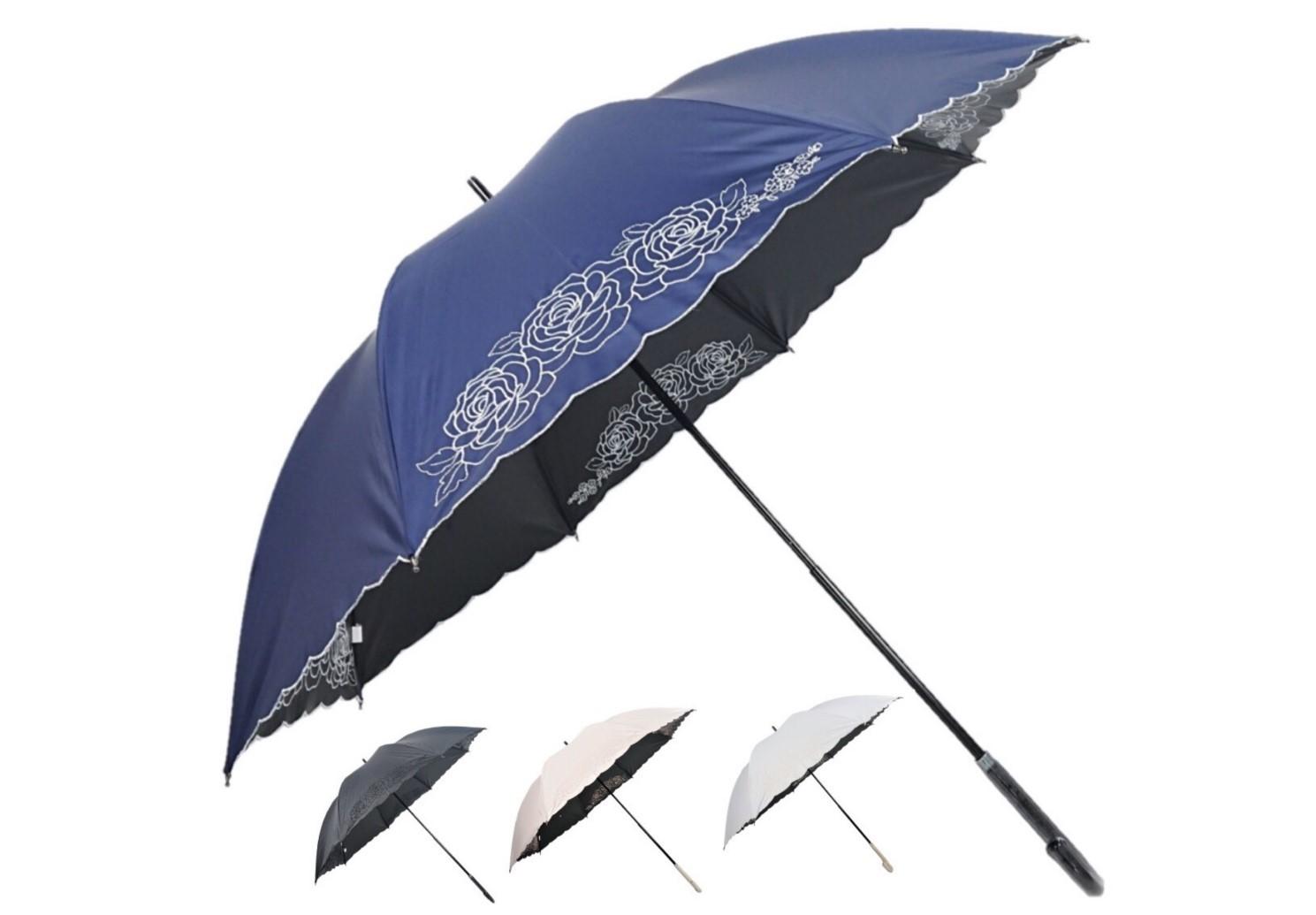【送料無料】スライドショート傘 長傘 50cm 遮光率99.99%以上 一級遮光・遮熱 晴雨兼用傘 半駒3輪バラ刺繍ブラック・ネイビー・ピンク・オフレディース傘/遮光/遮熱/日傘/傘/晴雨兼用/パラソル/婦人/UV対策