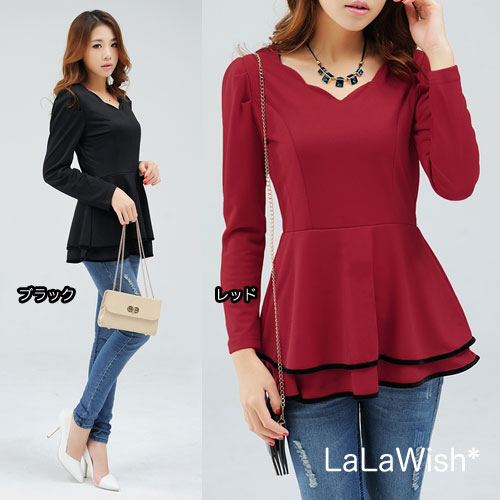 bf8003f97d5 Large size ladies skirt tiered Long Sleeve Tops peplum line A line flare  tunic adult cute fall spring fall and winter 着痩se L size 11 LL size 2 l LL  No.