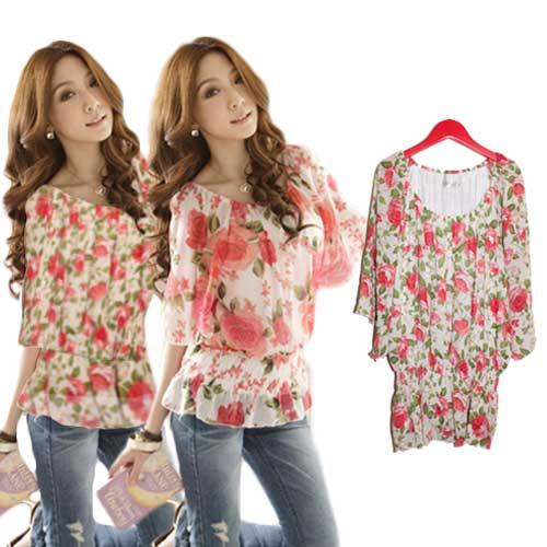 Lalawish Large Tunic Size Ladies Chiffon Floral Blouse Short Sleeve