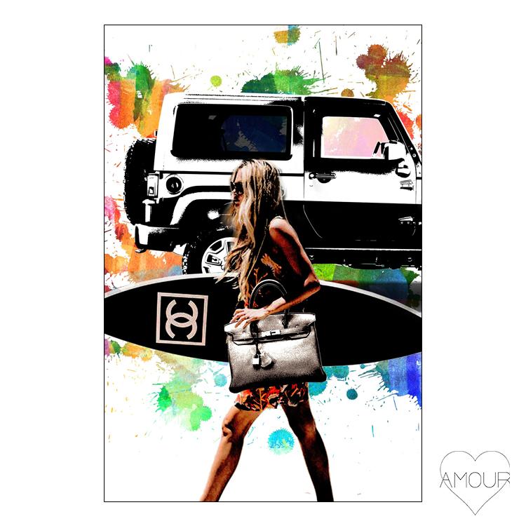 【LA直輸入】【Amour Art】 FANCY GAL アート オマージュアート ファッションアート アモア アモアアート 海外セレブ 直輸入 キャンバス アクリル メタル ラメ ロサンゼルス
