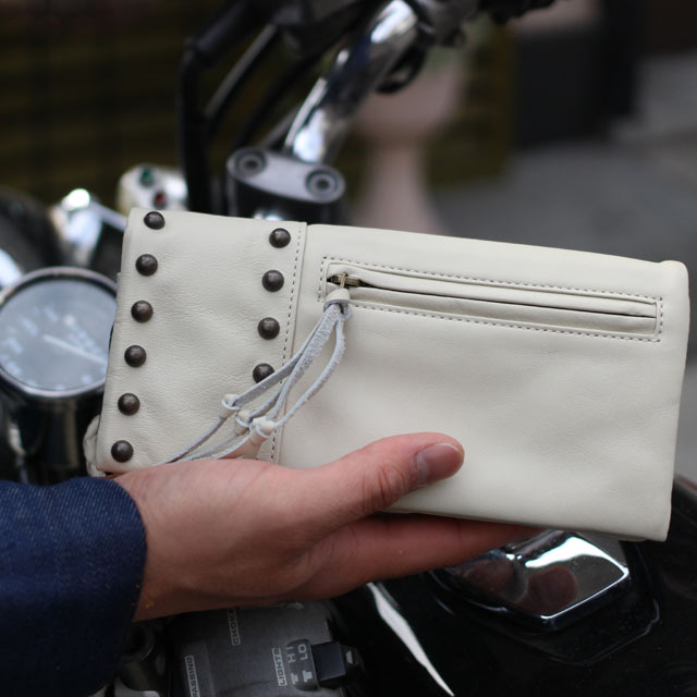 Review 4.6 over this leather wallet view a purse) mens long black black white white casual バイカーズウォレット Gifts Gift 2013 fashion