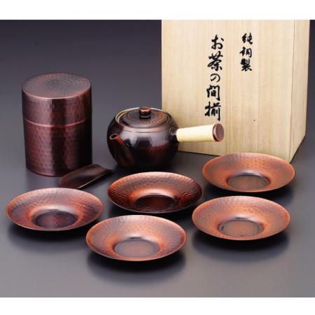 食楽工房 銅製茶器《JAPANESE TEA》 急須・茶筒・茶托セット CB524