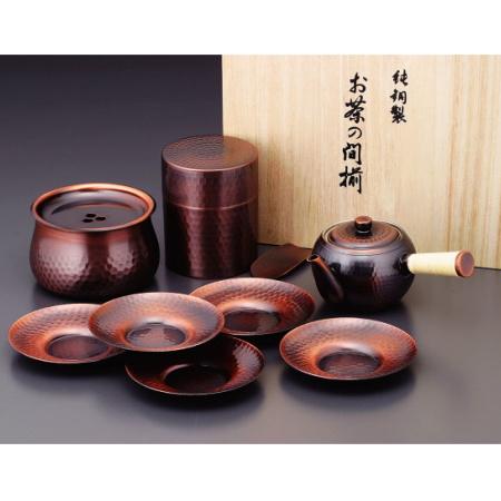食楽工房 銅製茶器《JAPANESE TEA》 急須・茶筒・建水・茶托セット CB525
