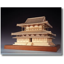 ウッディジョー 木製建築模型 【1/75 法隆寺 金堂】レーザーカット加工