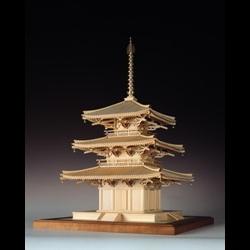 ウッディジョー 木製建築模型 【1/75 法輪寺 三重塔】レーザーカット加工