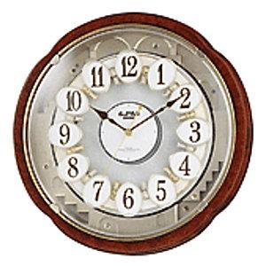 【送料無料】 リズム 電波掛時計 からくり時計 スモールワールドコンベルS 4MN480RH23
