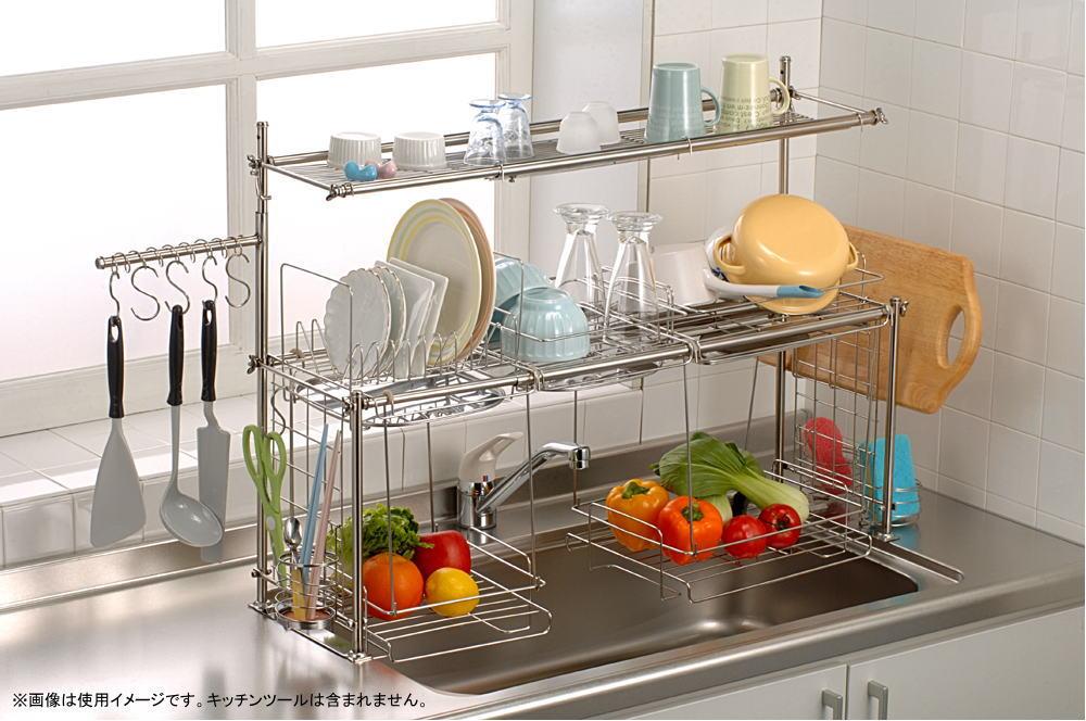 杉山金属 キチンと キッチン 収納3段 切替式 下段オプション付 KS-2717