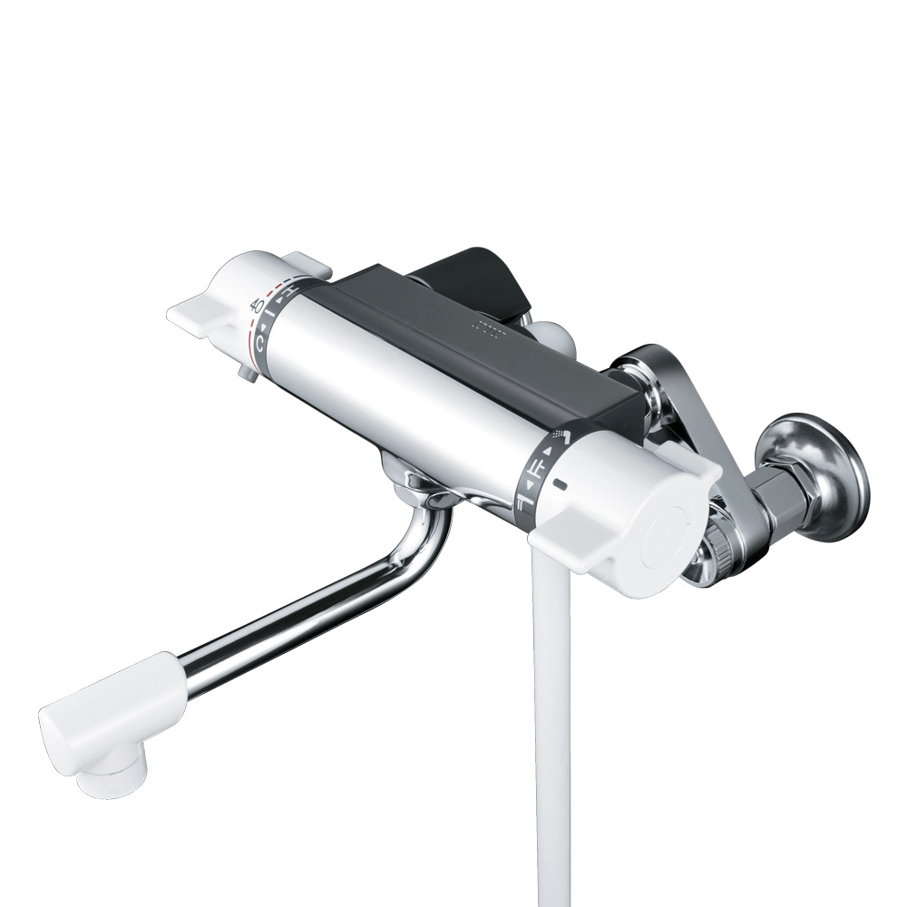 KVK 浴室用シャワー付きサーモスタット式混合栓 楽締めソケット付 寒冷地仕様 PS30WHA